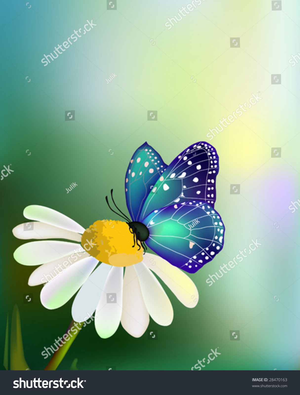 Vector blue butterfly on daisyflower sky stock vector royalty free vector blue butterfly on the daisy flower with the sky background izmirmasajfo