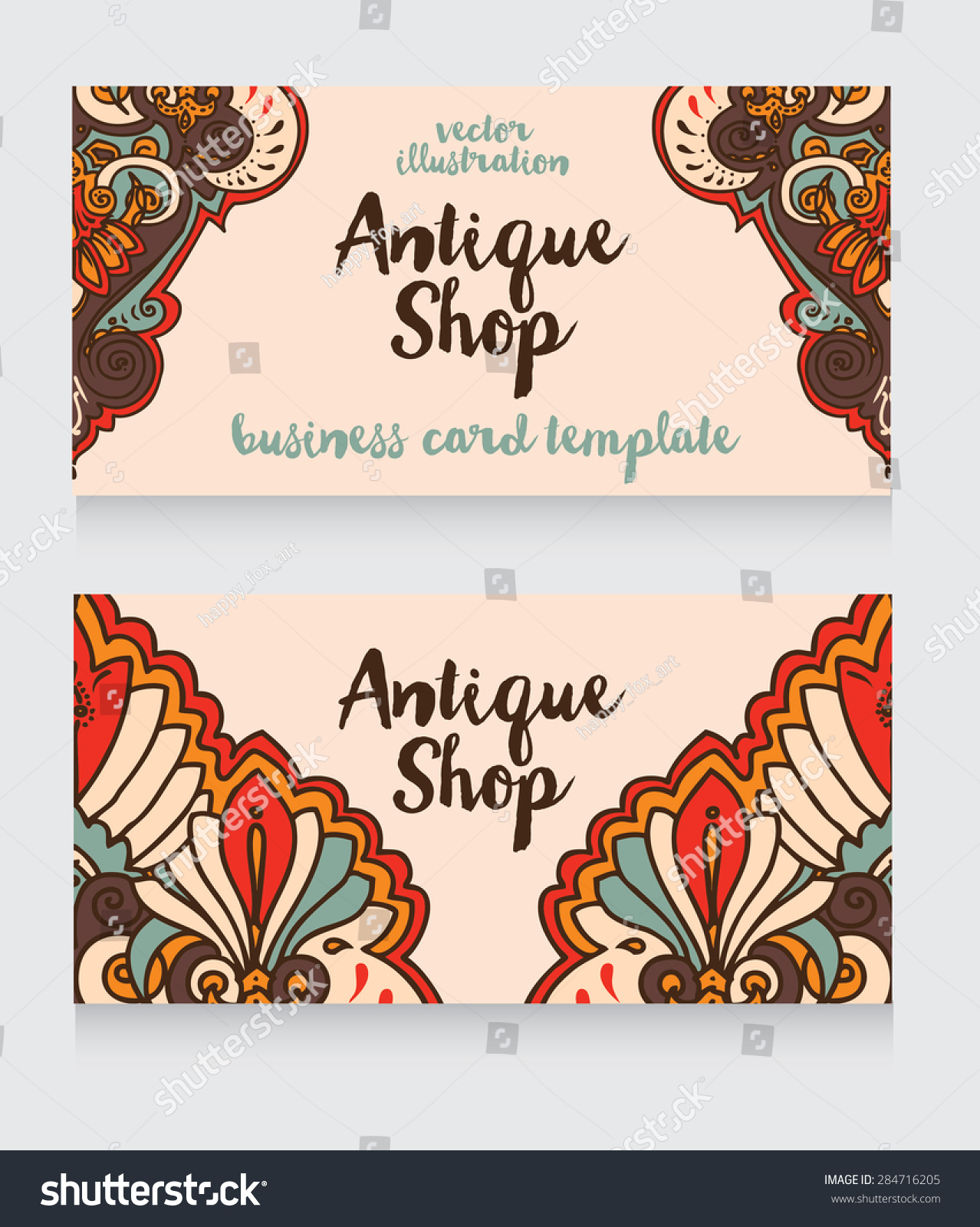 Business Cards Template Antique Shop Arabian Stock Vector (2018 ...