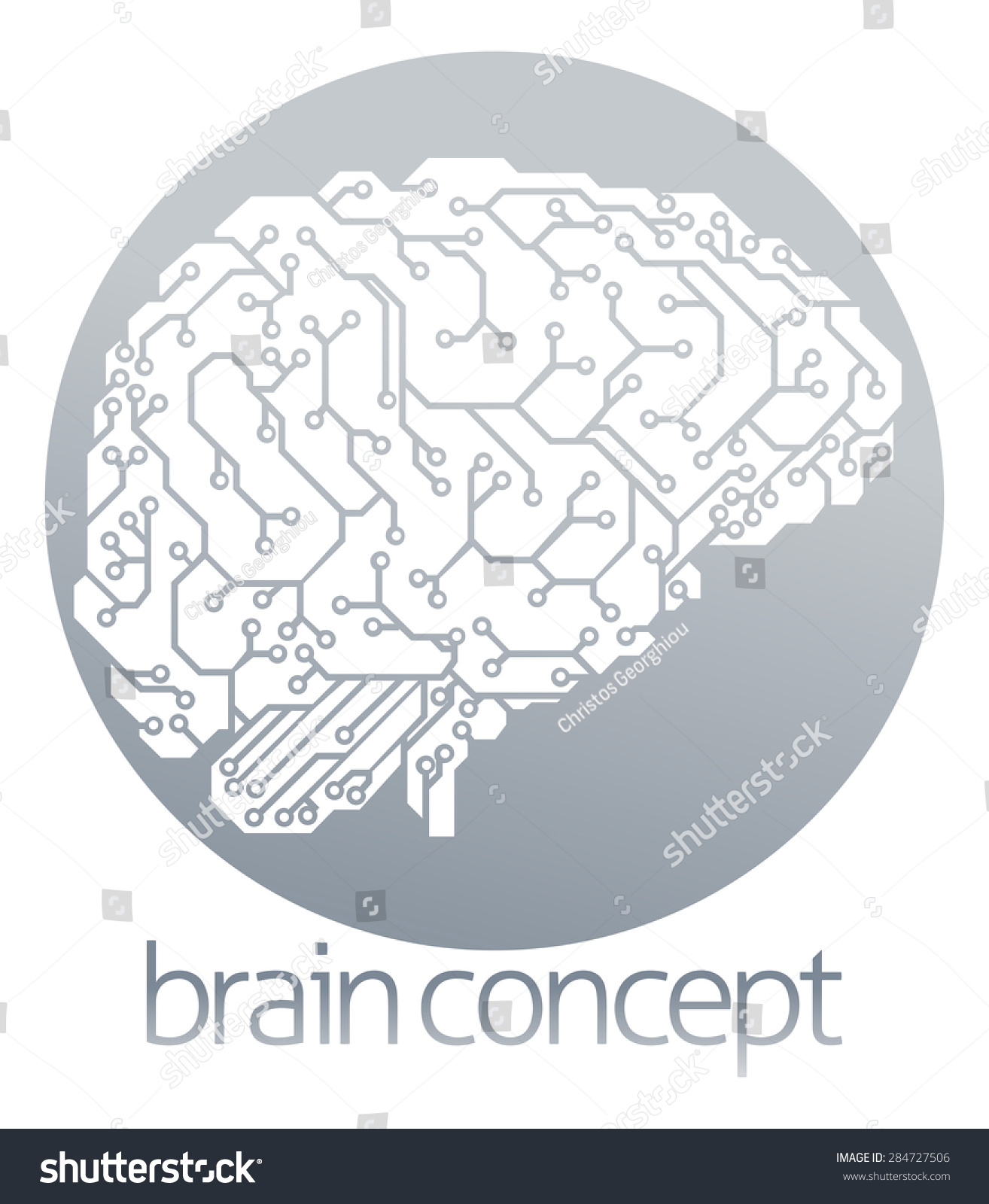 Illustration Electrical Circuit Board Brain Profile Stock ...