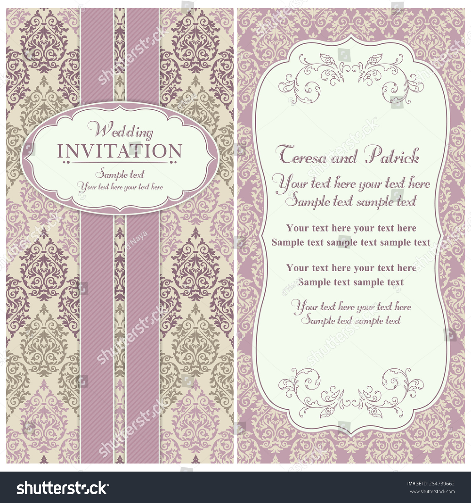 Antique baroque wedding invitation, birds and flowers, pink and ...