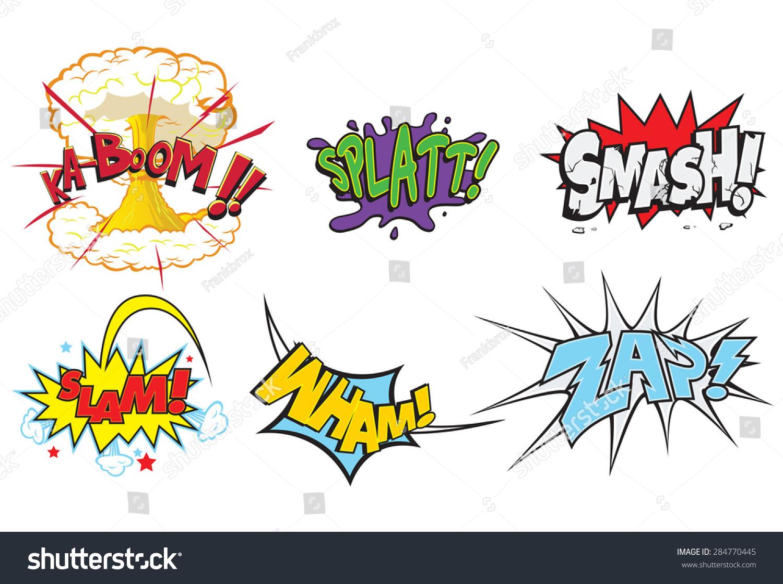 creative action words comics such smash stock vector  creative action words for comics such as smash slam wham zap comic