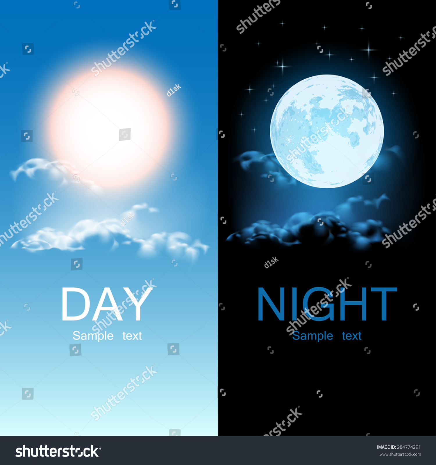 day night illustration stock vector 284774291 shutterstock. Black Bedroom Furniture Sets. Home Design Ideas