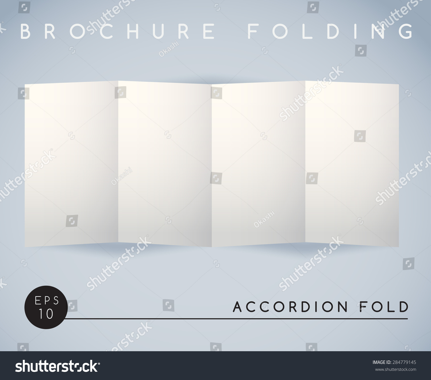Brochure folding accordion fold 4 panel vector for Accordion fold brochure template