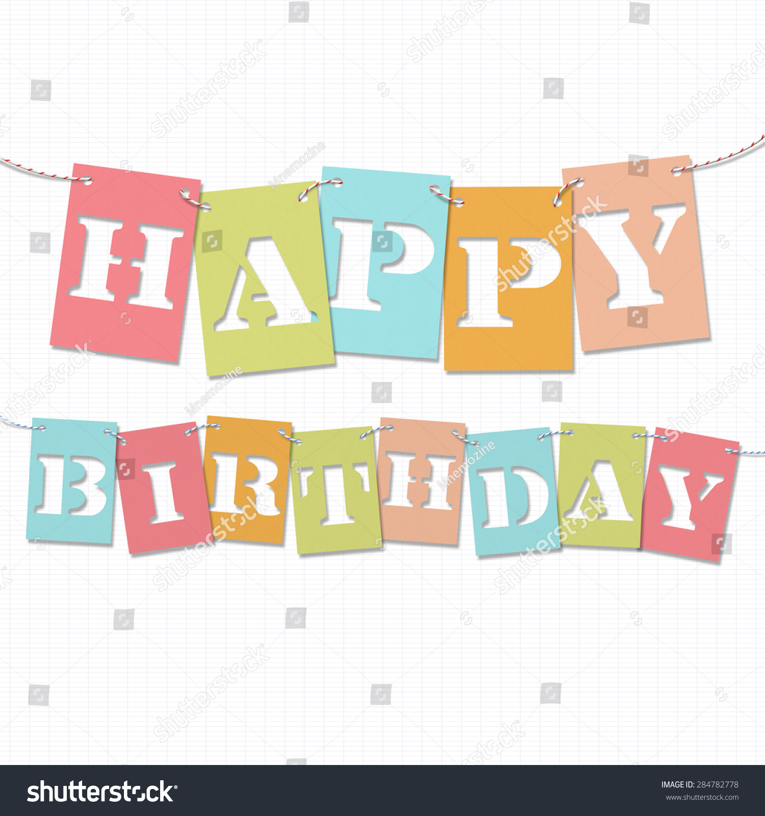 happy birthday background card with cut out letters
