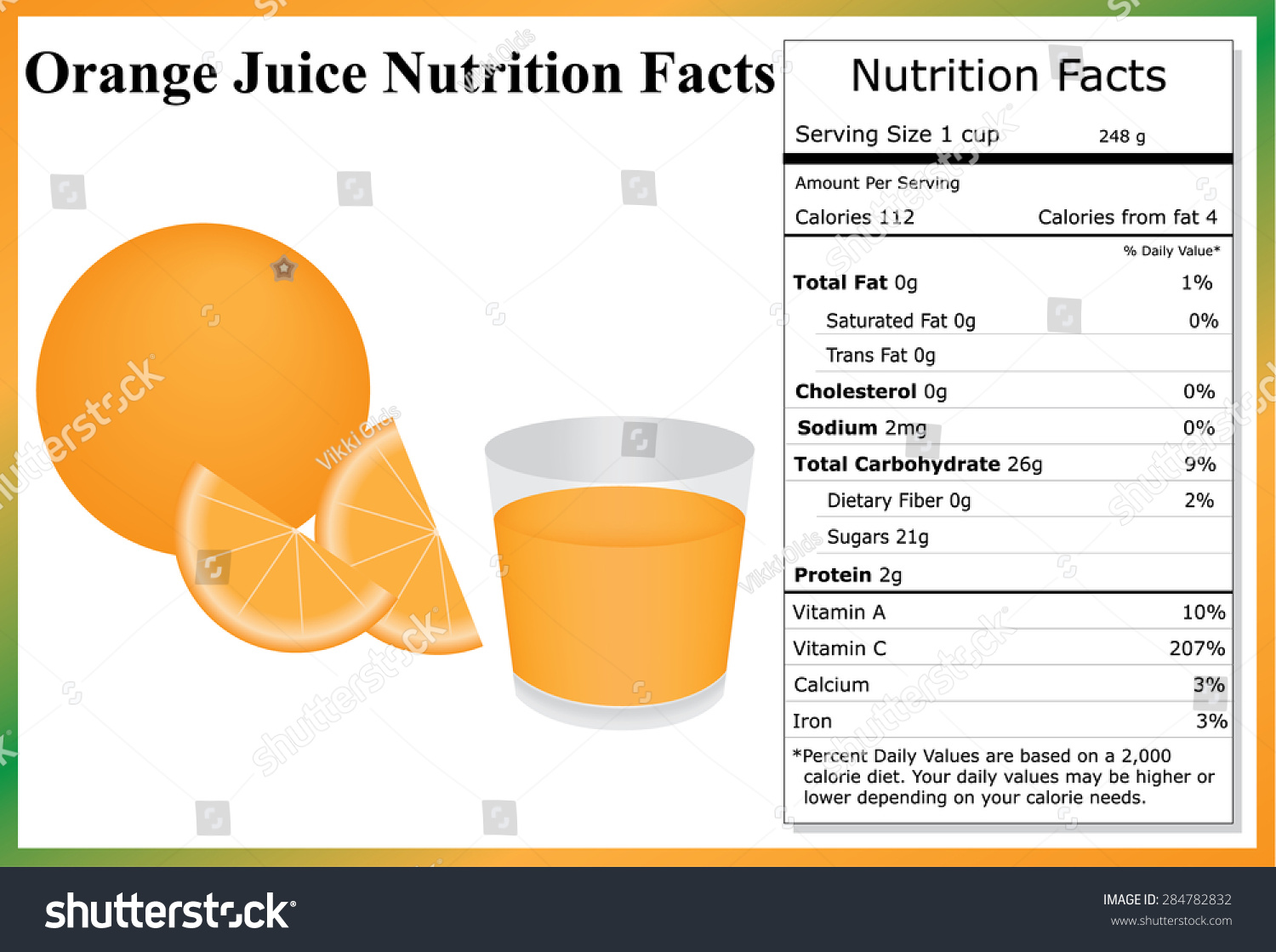 orange juice nutrition facts orange orange stock vector (royalty