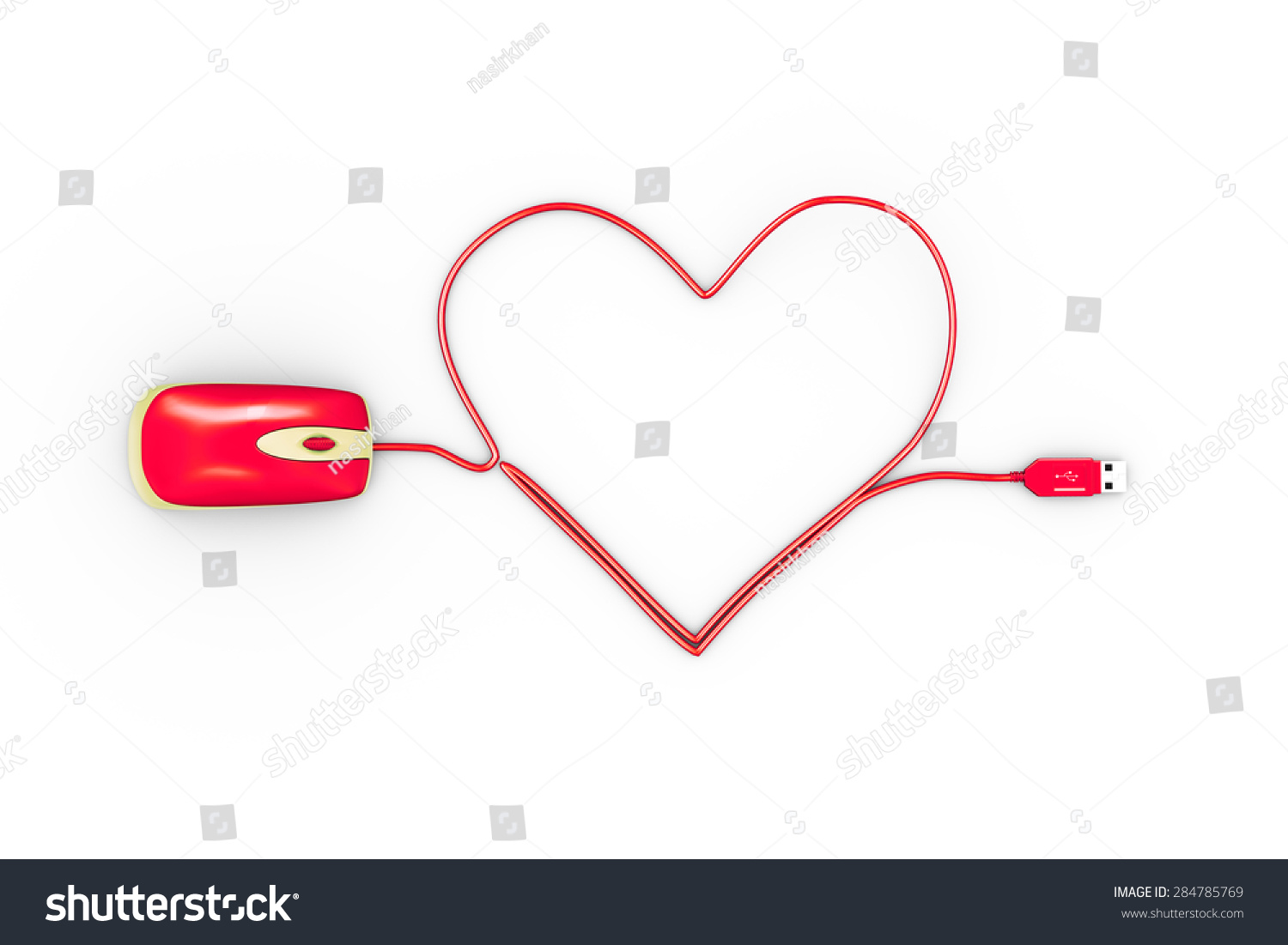Mouse Cable Wire Diagram Electrical Wiring Diagrams Computer 3 D Rendering Heart Shape Made Stock Illustration 284785769 Basic