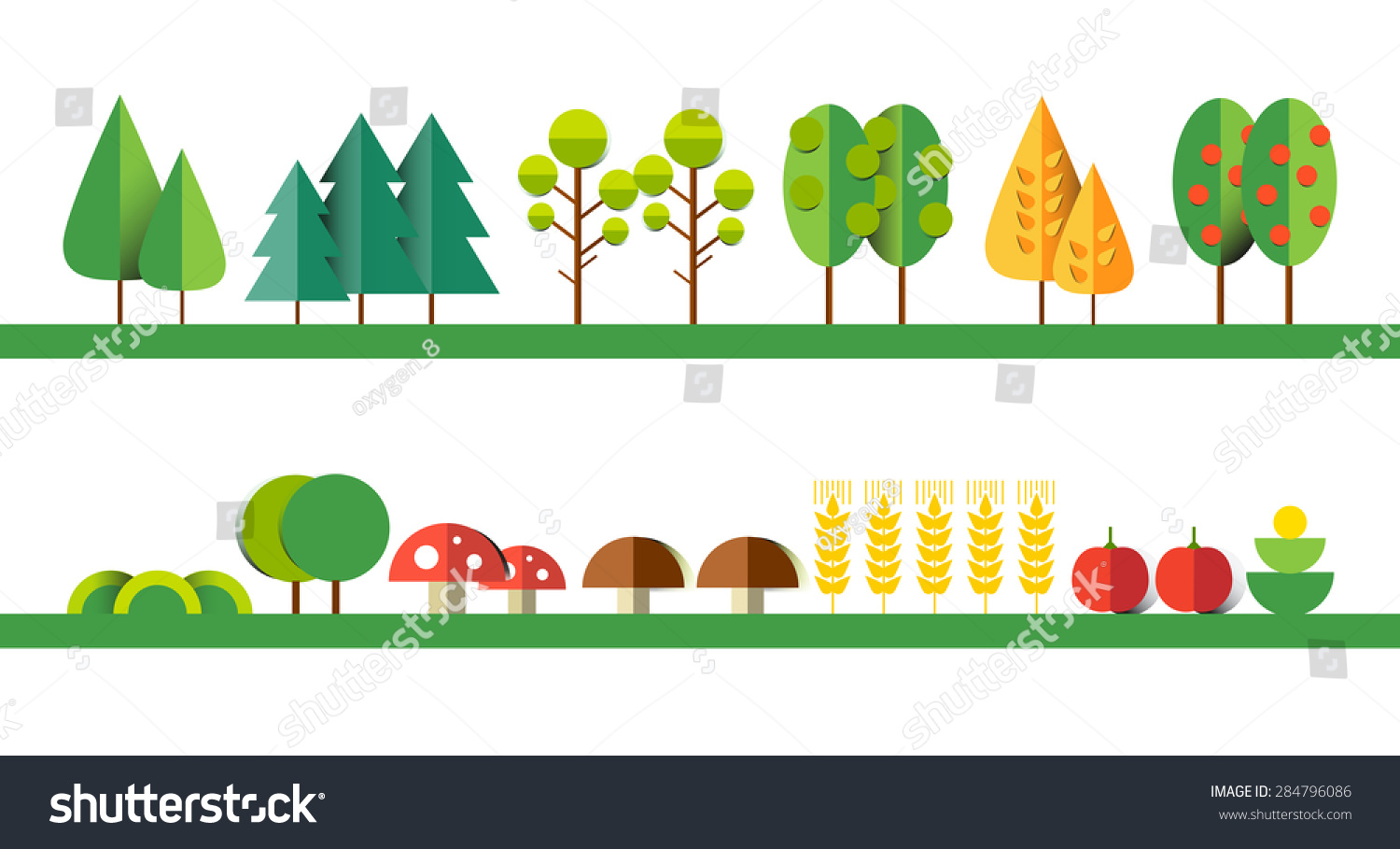Set Different Trees Grass Mushrooms Wheat Stock Vector