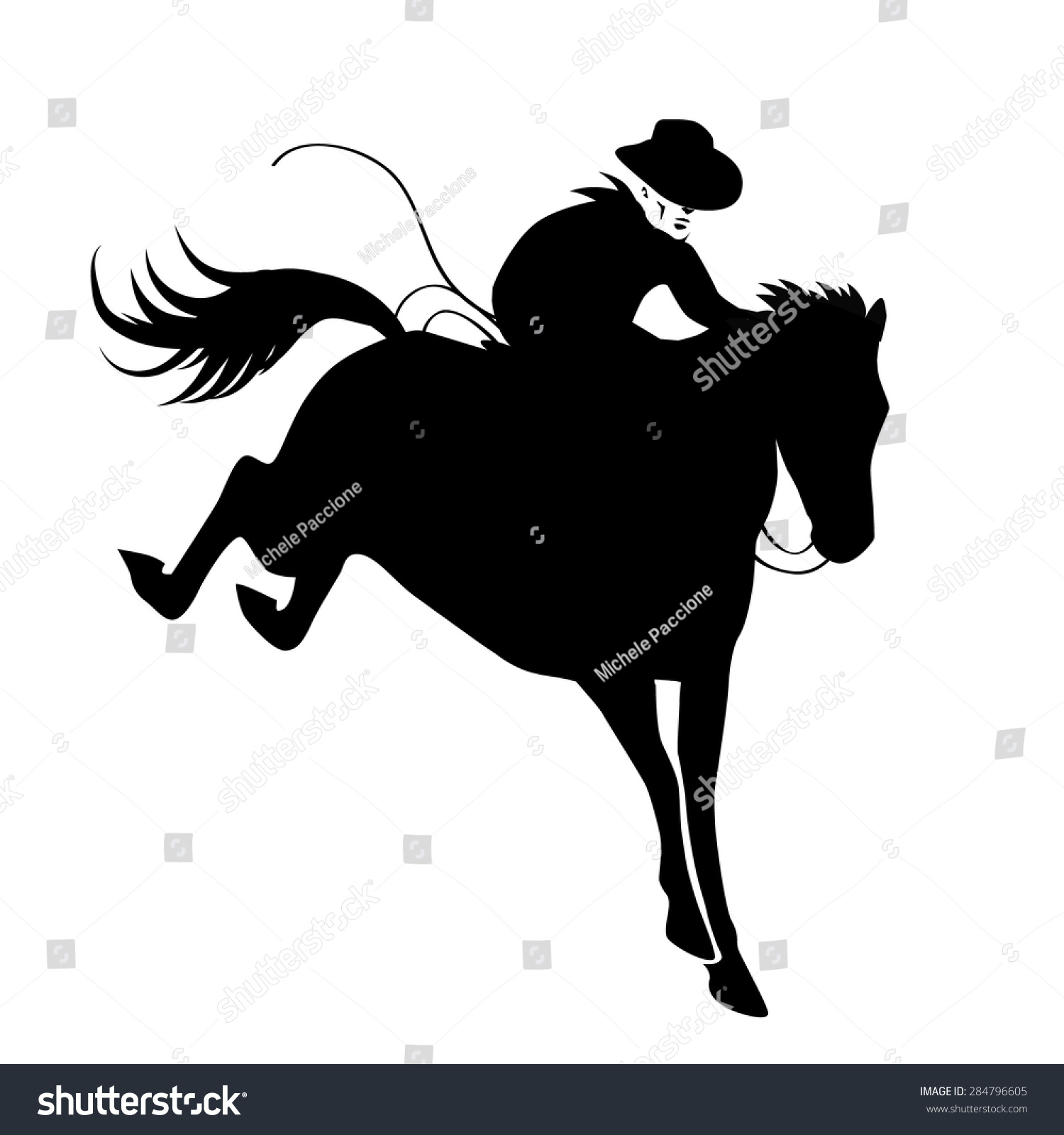 Rodeo Bucking Bronco Icon Silhouette Eps Stock Vector ...