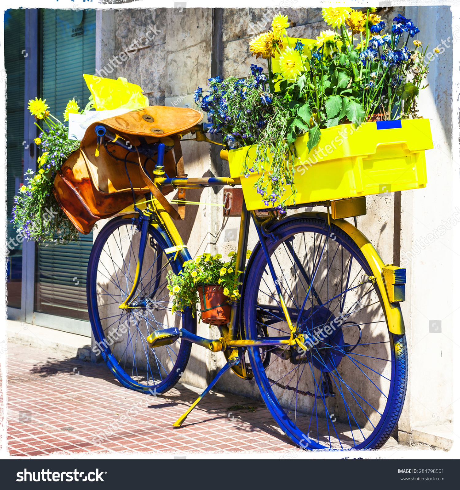 Bicycle of postman charming street decoration stock photo for 70 bike decoration
