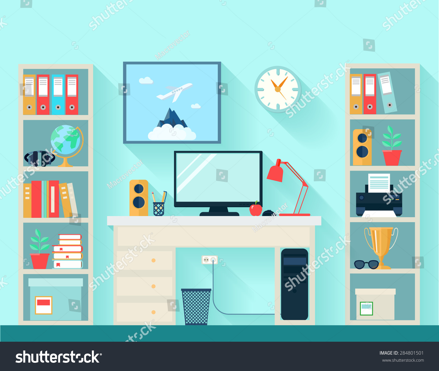 workspace room computer table bookshelves on stock vector Free around Globe Vector Art Dijital Vector World Globe