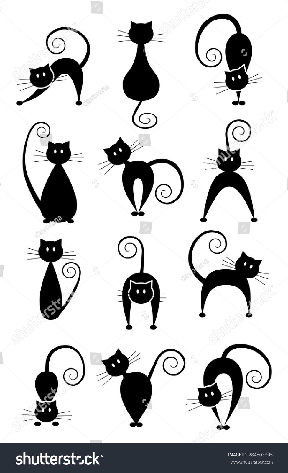 set different pose black cats black stock vector 284803805