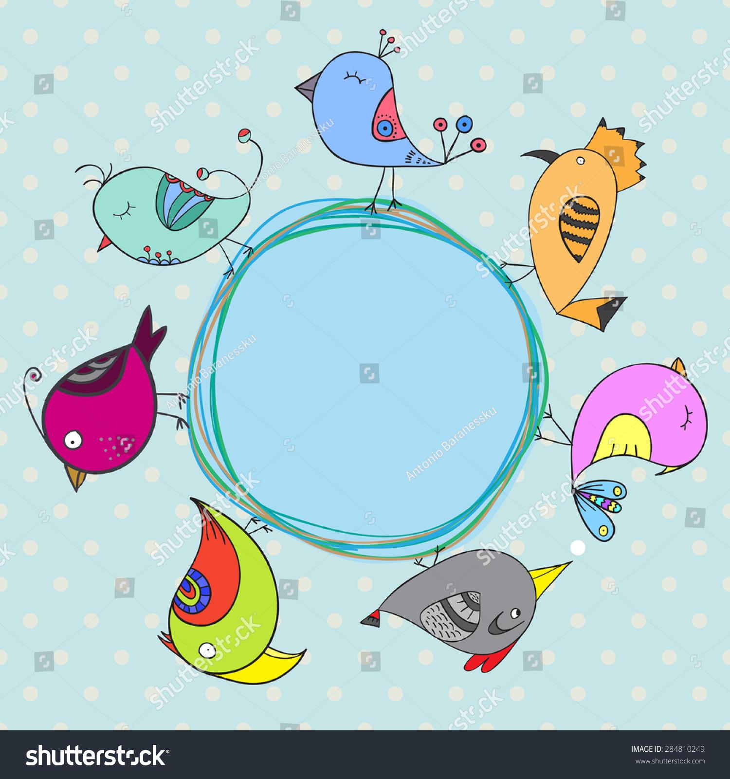 Birds Cartoon Card Circle Frame Place Stock Vector 284810249 ...