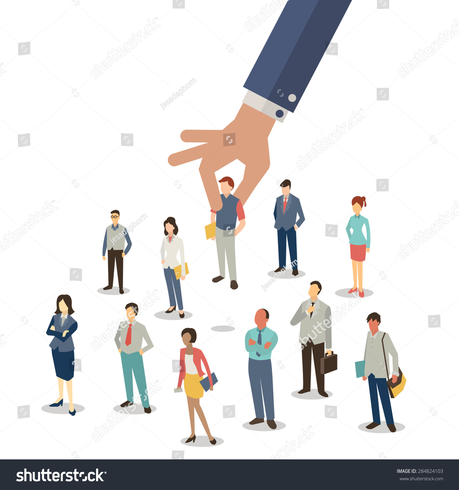 Men holding the word party concept 3d illustration stock photo - Businessman Hand Picking Up Selected Man From Group Of Businesspeople Recruitment Concept Flat Design