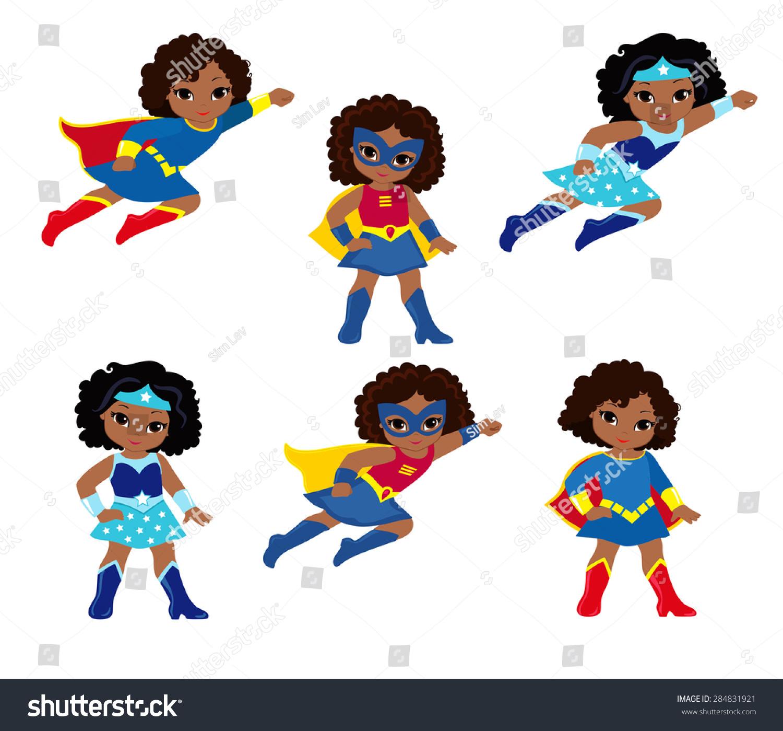 African American Cute Superhero Girl Vector Stock Vector 284831921 ...