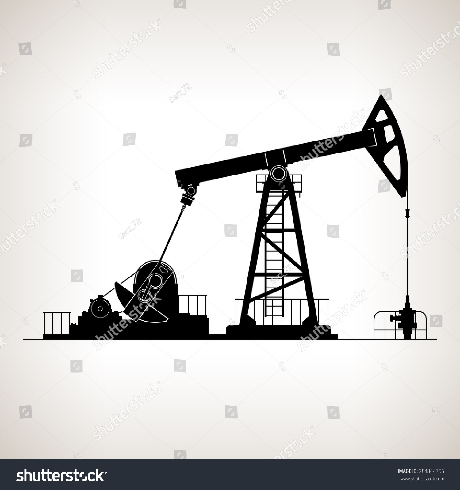 Silhouette pump jack oil pump called stock vector for Grasshopper tattoo supply
