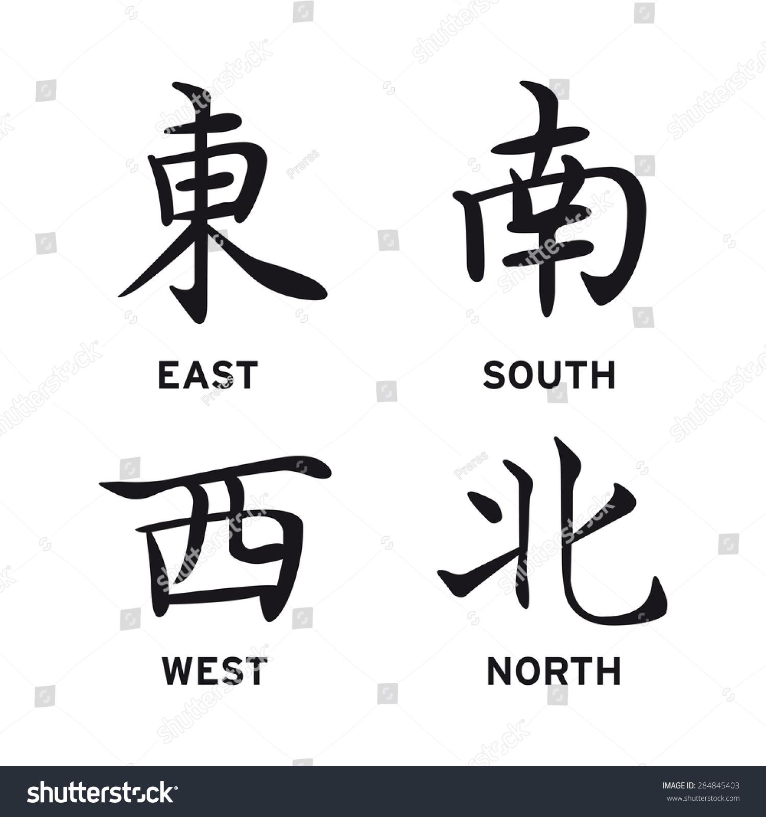 Chinese symbols north south east west stock vector 284845403 chinese symbols north south east west lose vector set buycottarizona