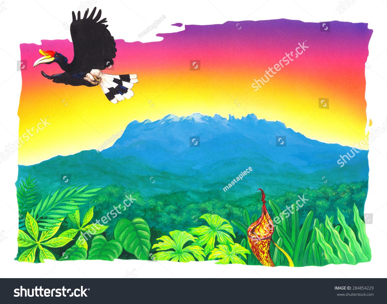 Illustration Beautiful Mount Kinabalu Sabah Stock Illustration 284854229