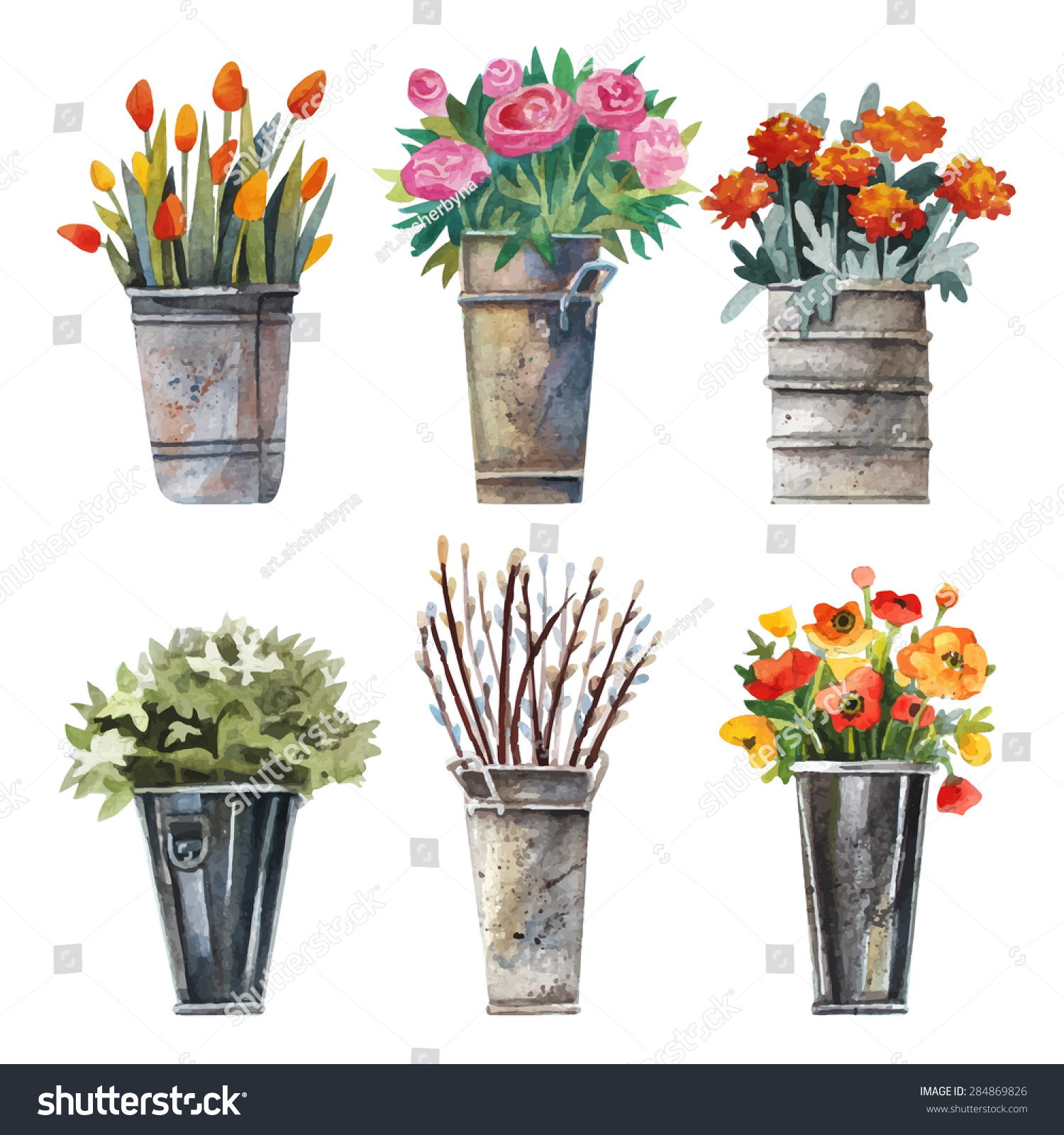 Vector set images flower shop watercolor stock vector 2018 vector set of images for the flower shop in watercolor style bouquets of flowers in izmirmasajfo