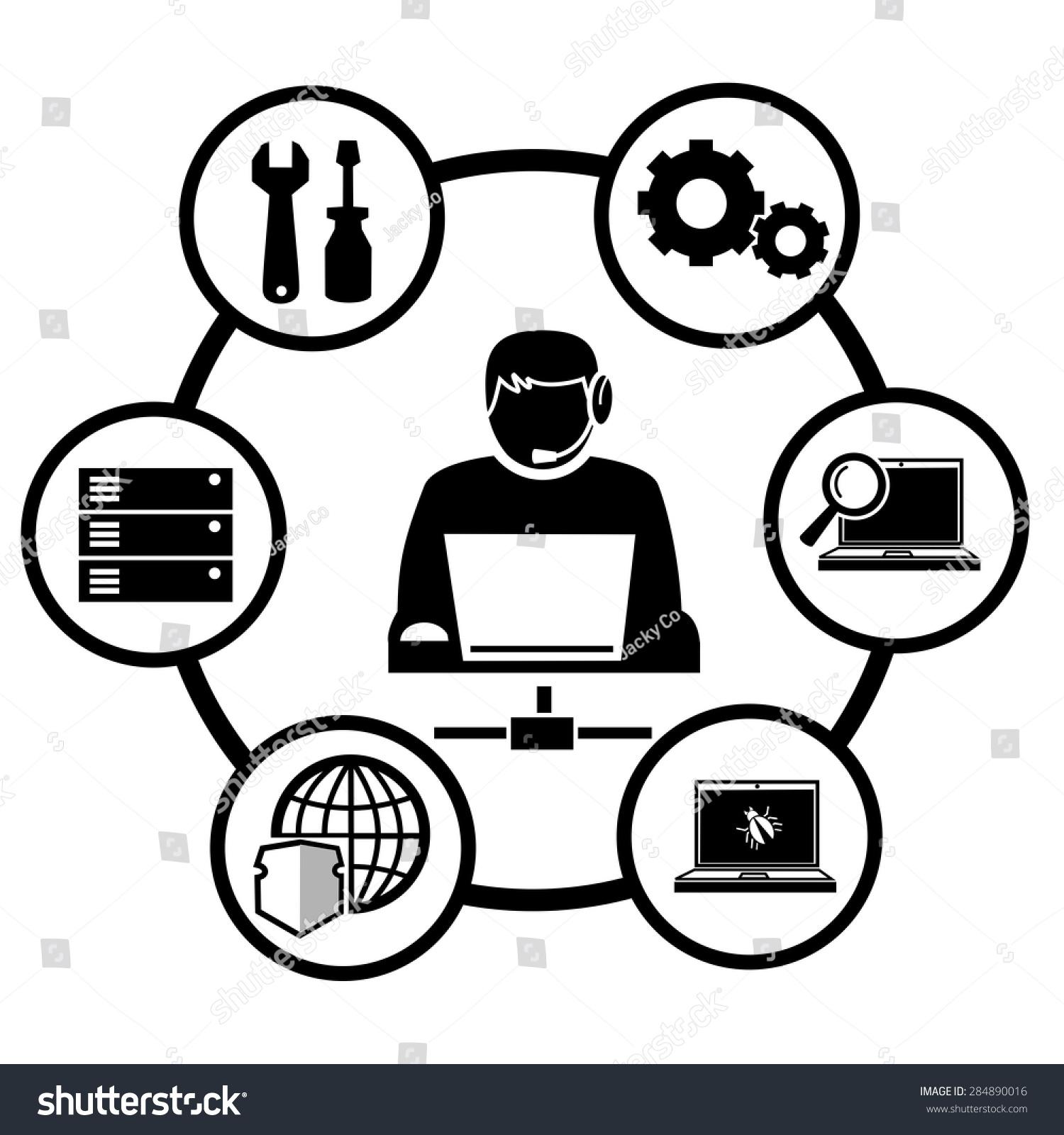 Computer Technician Icons Vector Stock Vector 284890016 - Shutterstock