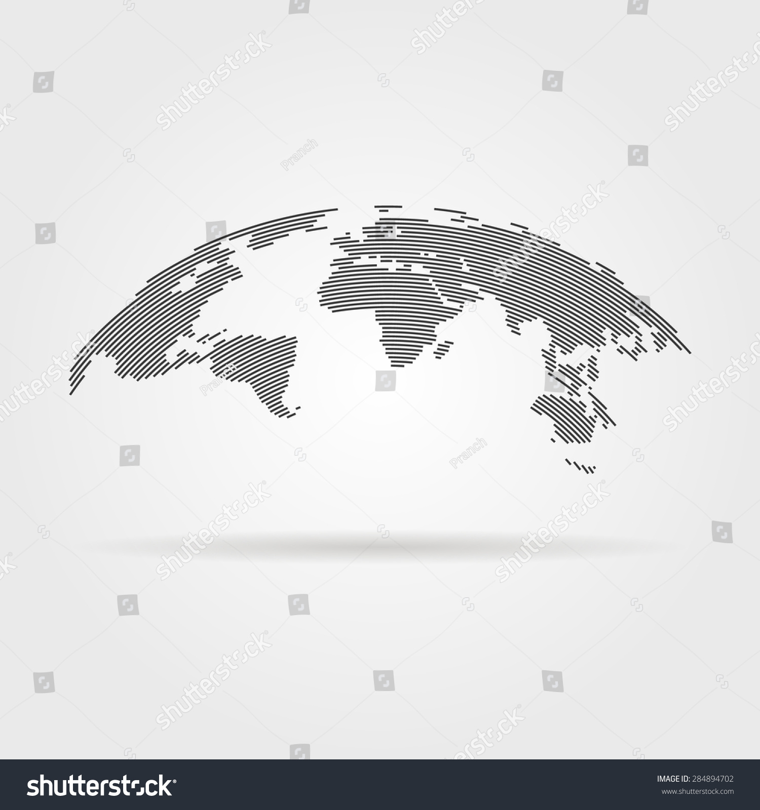 Simple black world map thin line stock vector 284894702 shutterstock gumiabroncs Choice Image