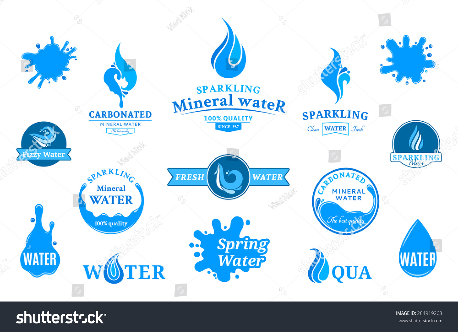 water logos label icons design elements stock vector