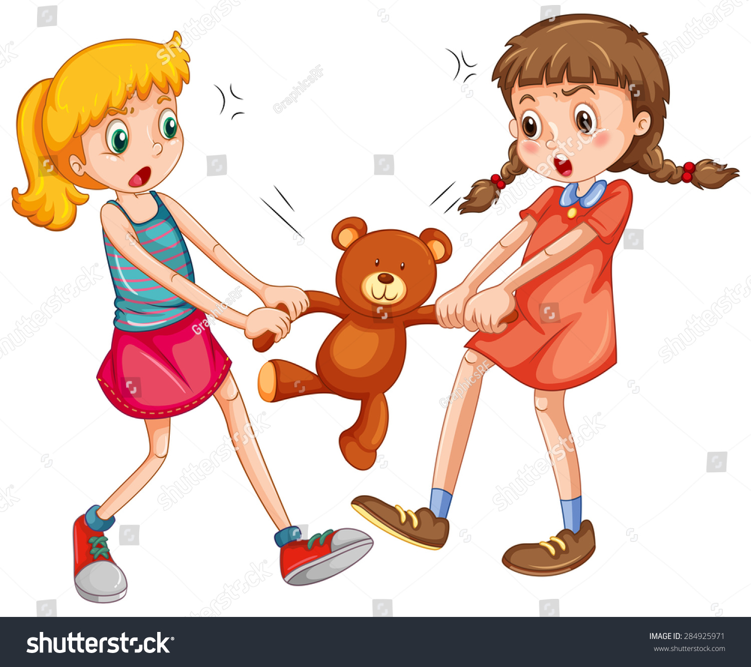 two girls fighting teddy bear stock vector (royalty free) 284925971