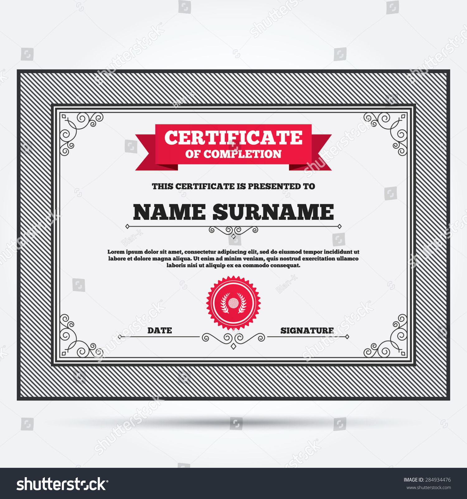 certificate completion golf ball sign icon stock vector 284934476