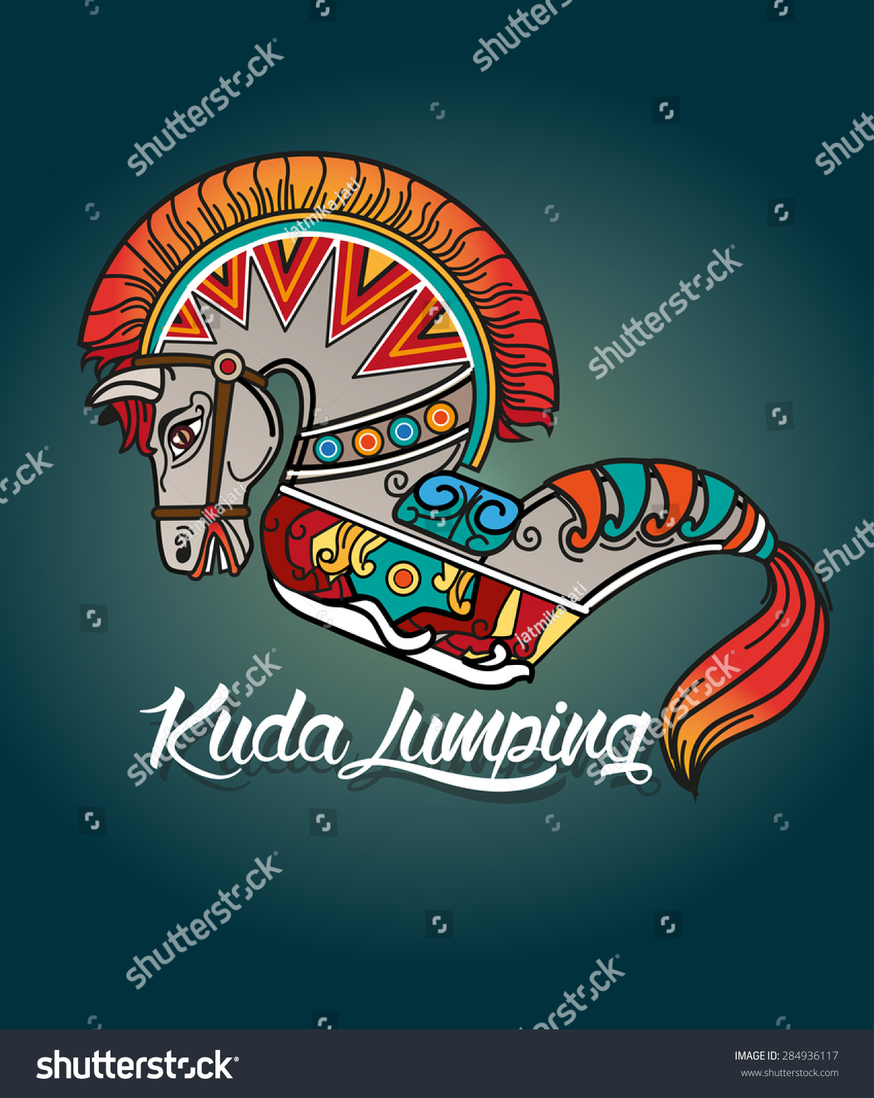 Leathered Horse Kuda Lumping E Traditional Stock Vector