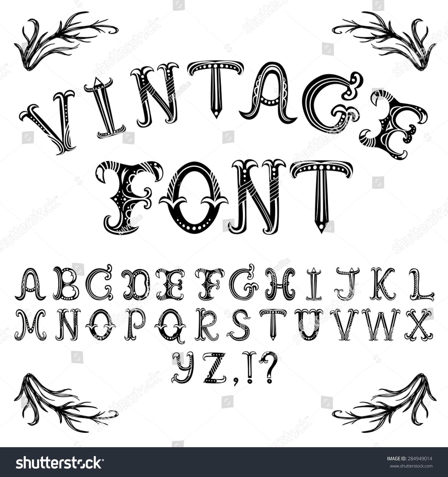 Vector Hand Drawn Decorative Vintage Abc Stock Vector