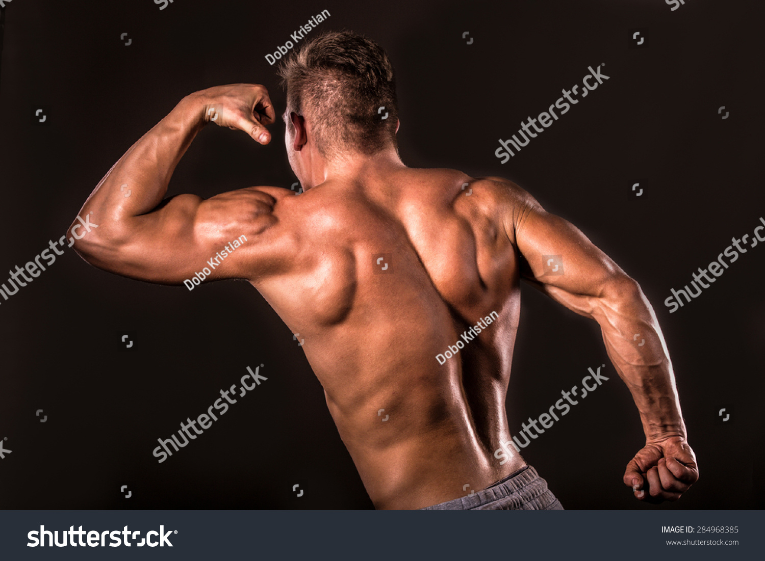 Muscular Bodybuilder Man Back Muscle Upper Stock Photo (Royalty Free ...