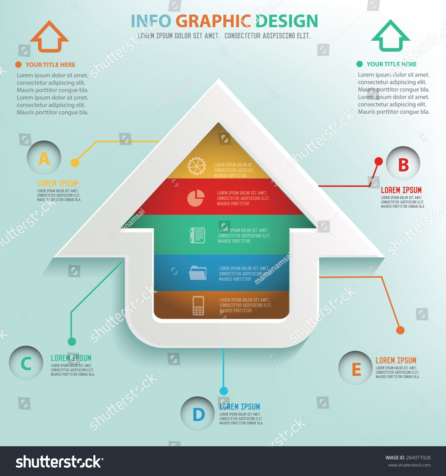 Home Info Graphic Design Business Concept Stock Vector