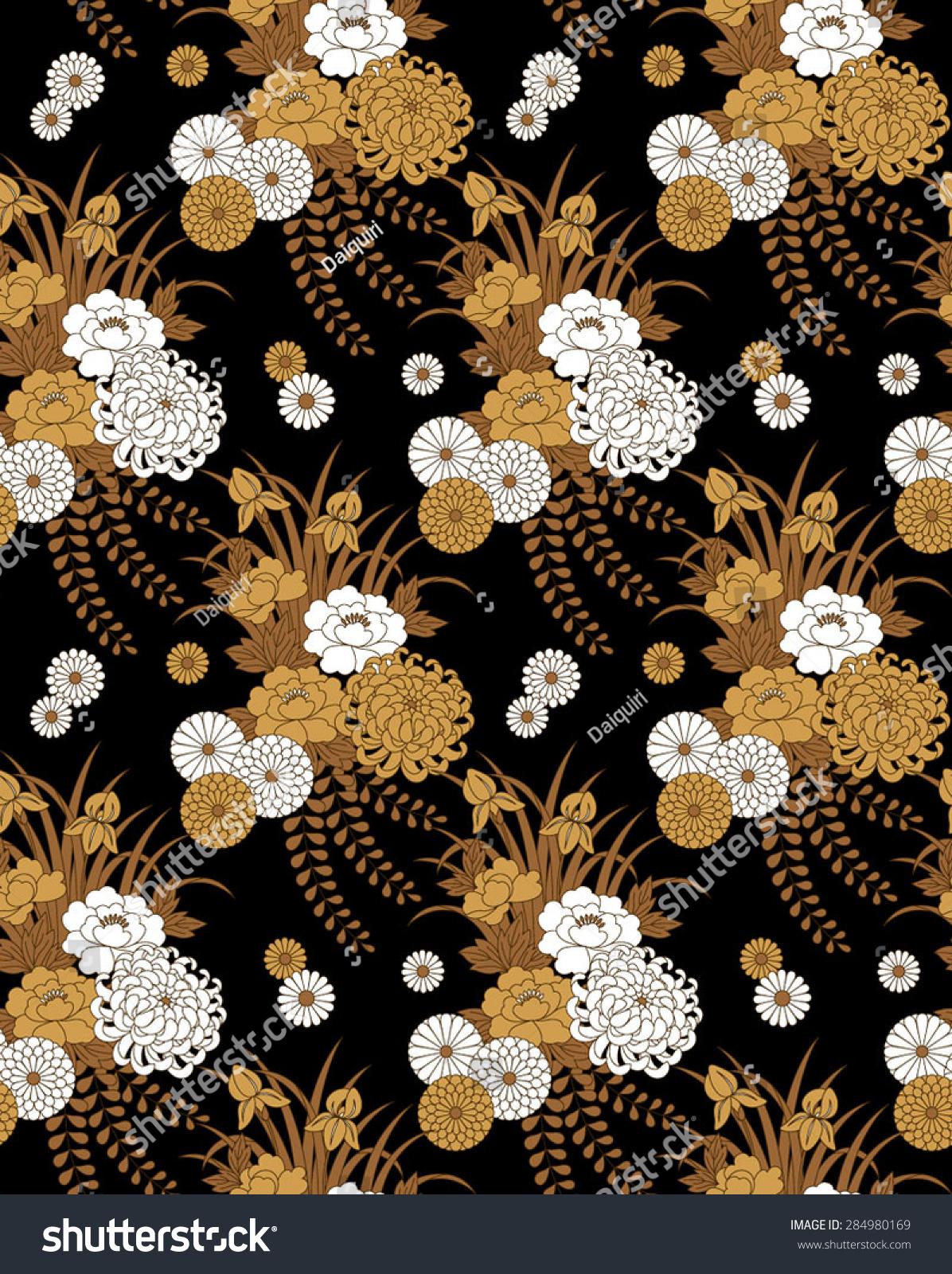 Seamless Vector Pattern. Traditional Japanese Flower Motif ...
