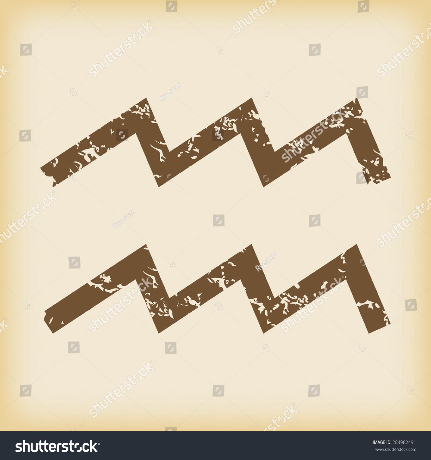 Grungy Brown Icon Aquarius Zodiac Symbol Stock Illustration
