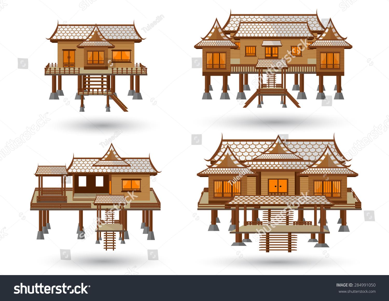Thai House Central Region Thai House Stock Vector 284991050 ...