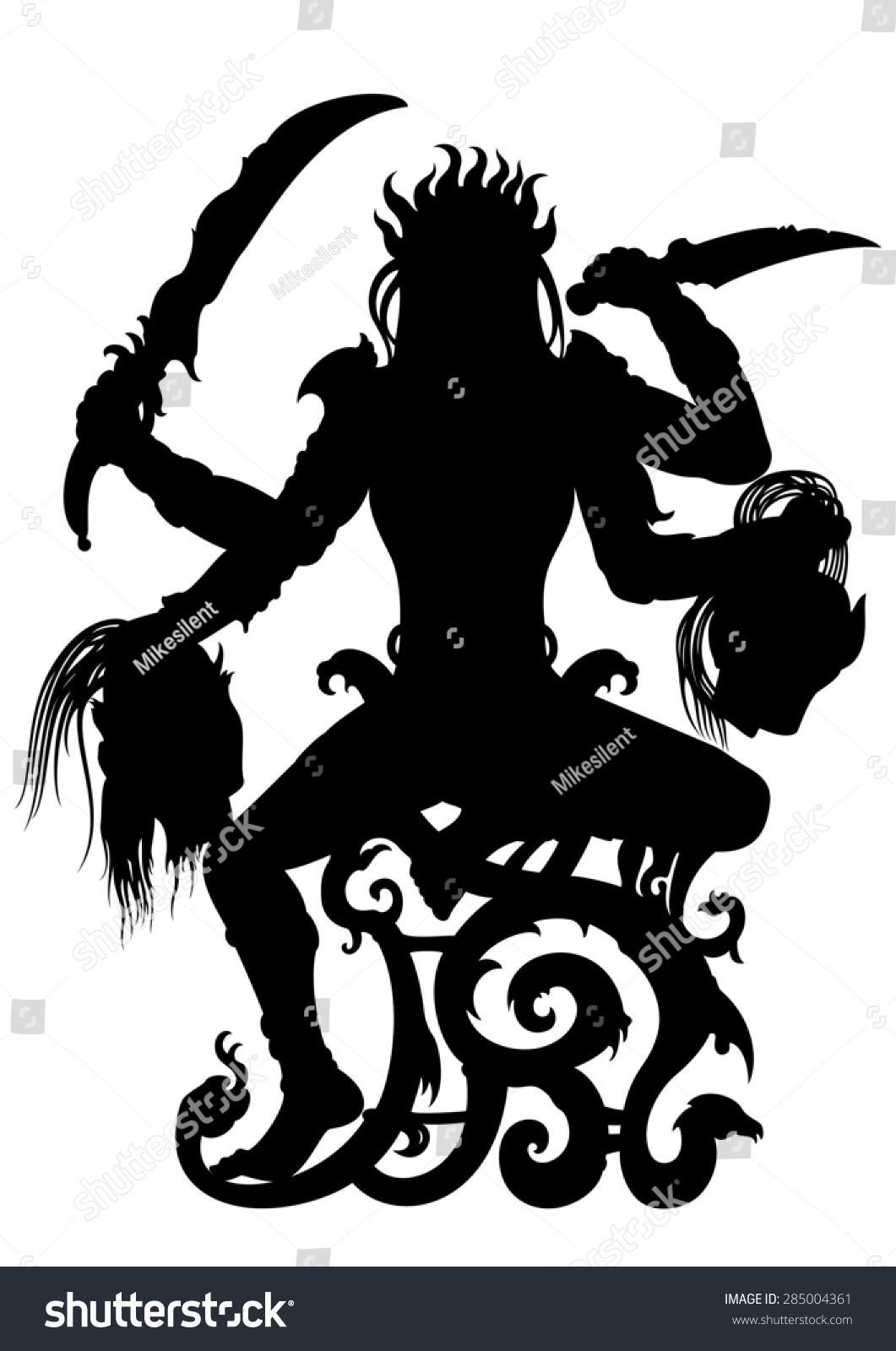 Kali Indian Goddess Silhouette Illustration Woman Stock