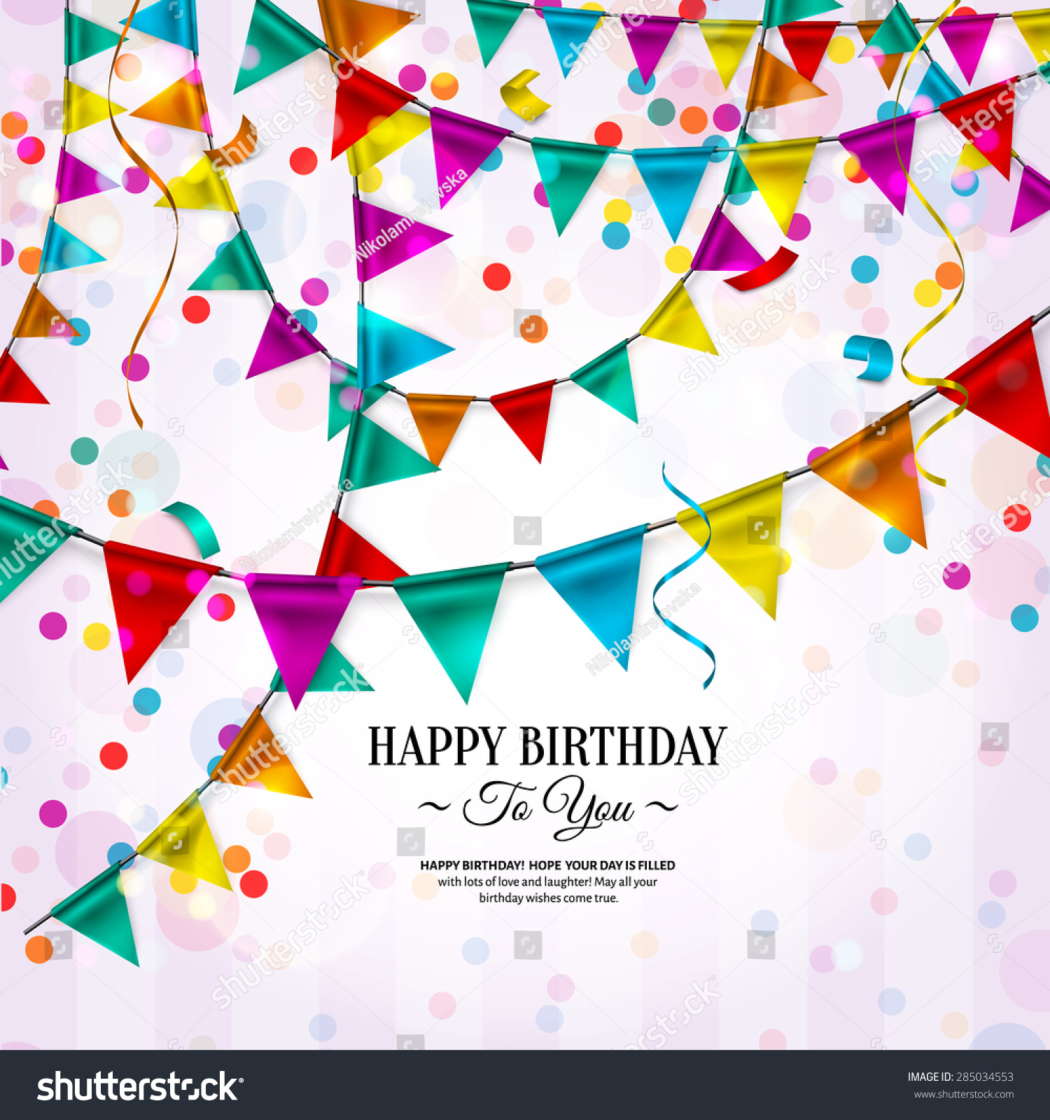 Vector Birthday Card Bunting Flags Ribbons Vector 285034553 – Vector Birthday Card