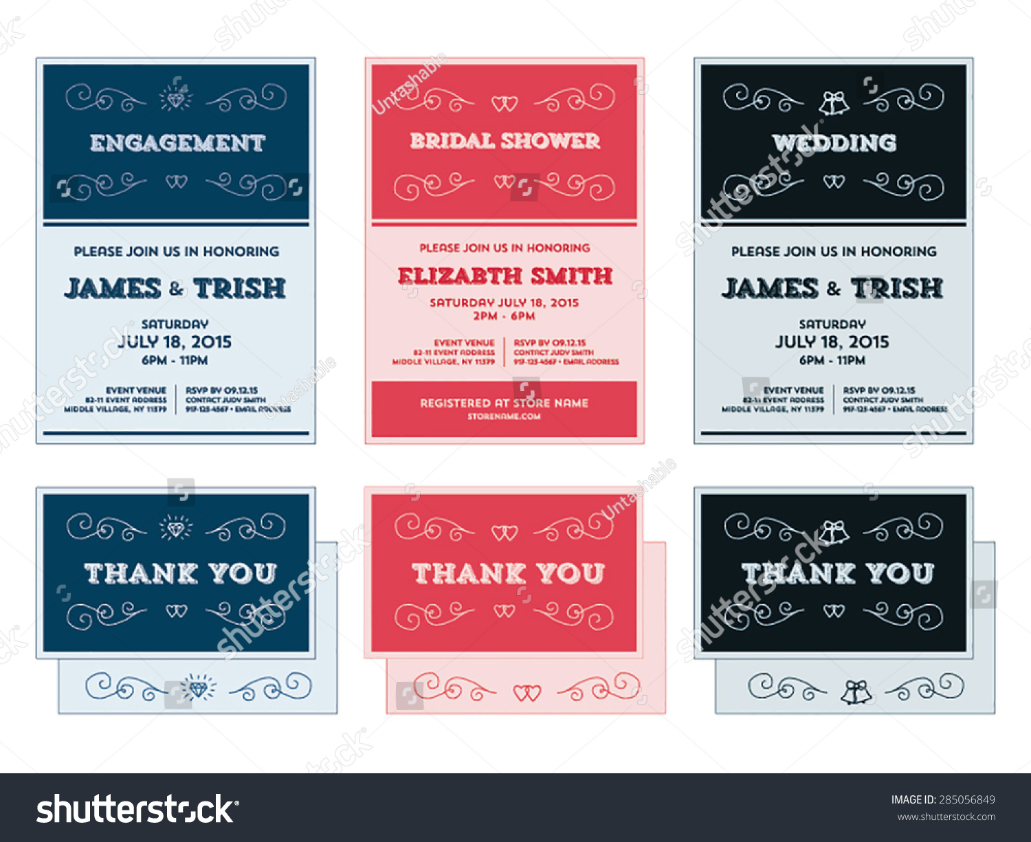 Wedding engagement shower invitation templates vector stock vector wedding engagement shower invitation templates in vector format stopboris