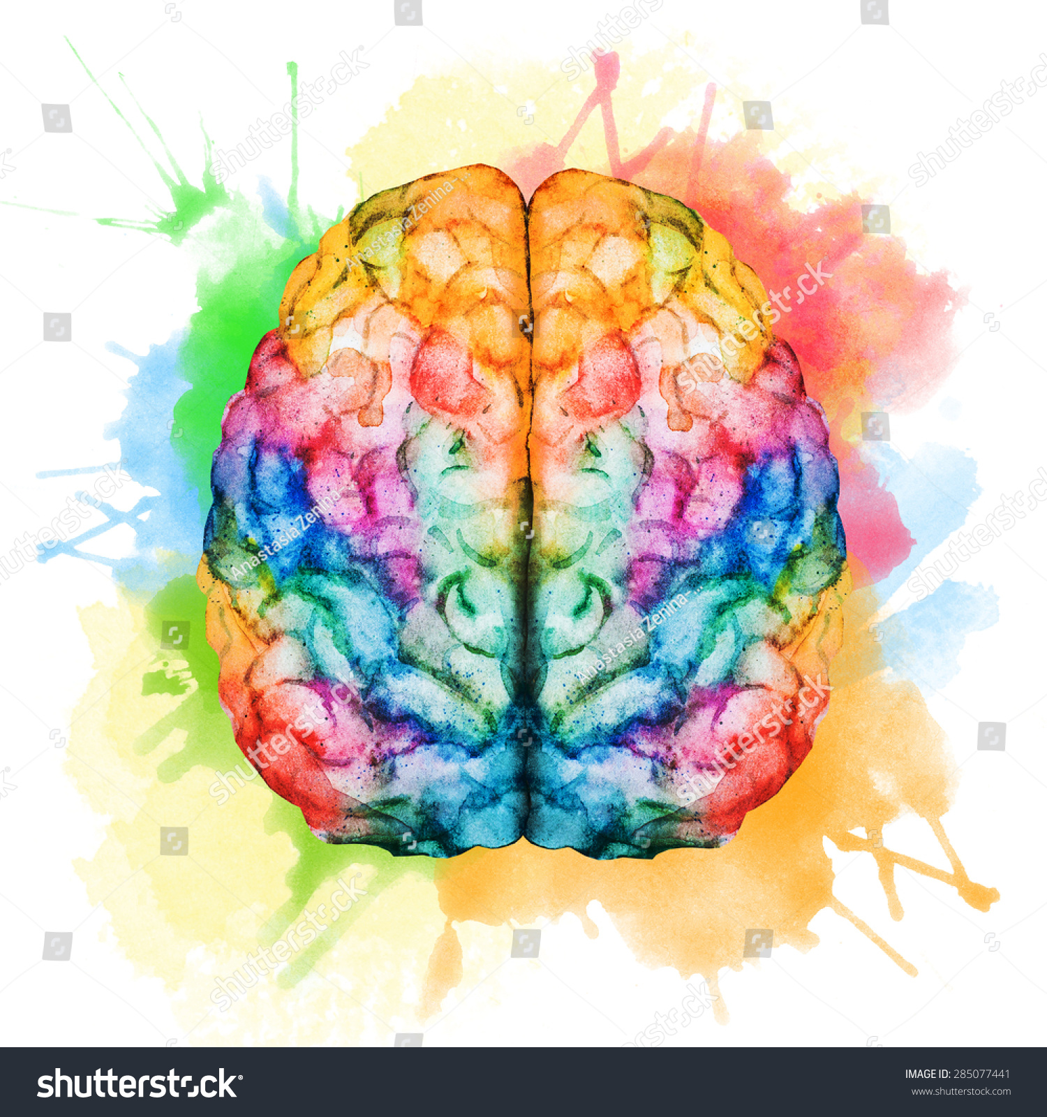 watercolor illustration bright colorful brain spray stock