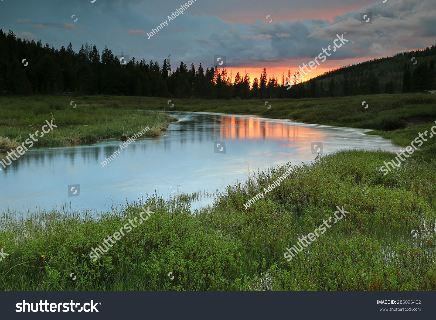 Serene Sunset Landscape By Bear River Stock Photo ...