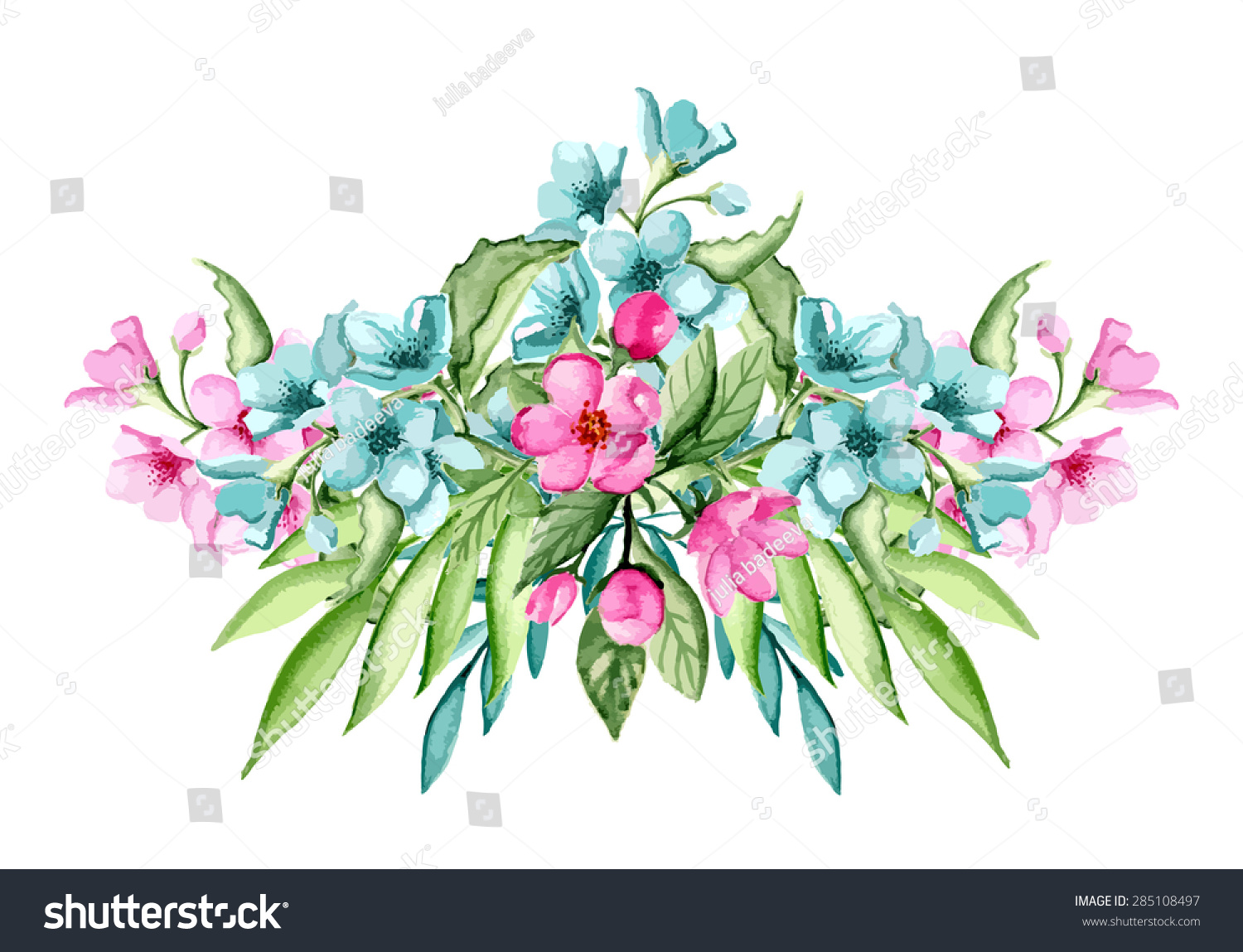 Bouquet Pink Blue Flowers Watercolor Hand Stock Vector Royalty Free