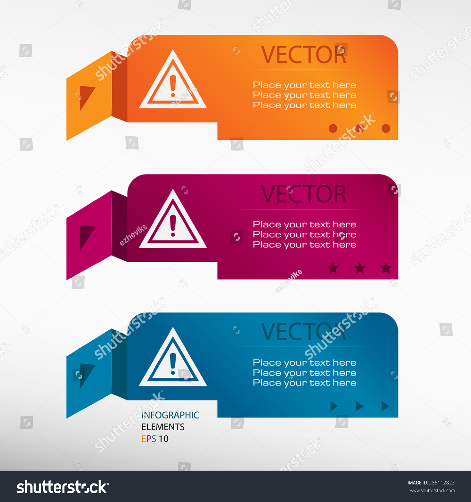 Warning attention caution sign on origami stock vector 285112823 warning attention caution sign on origami paper banners can be used for workflow layout jeuxipadfo Gallery