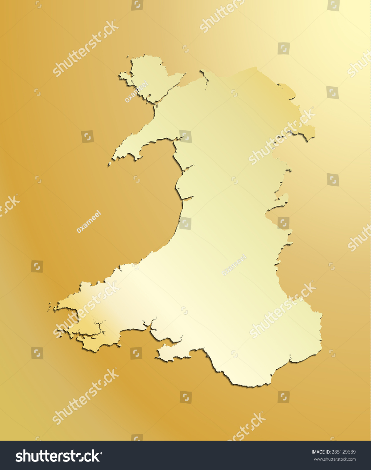 Detailed Map Of Wales Uk.Gold Map Wales Uk Stock Vector Royalty Free 285129689 Shutterstock