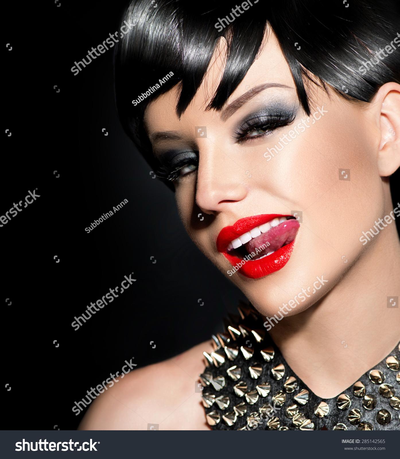 Beauty Sexy Punk Fashion Model Girl Stock Photo - Haircut girl model