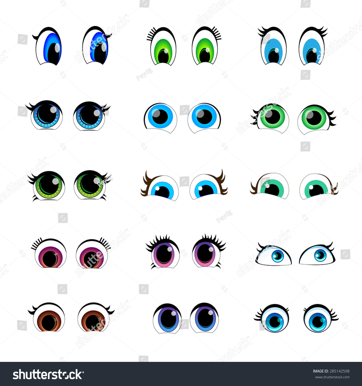 Cartoon Characters Eyes : Set cartoon characters eyes stock vector