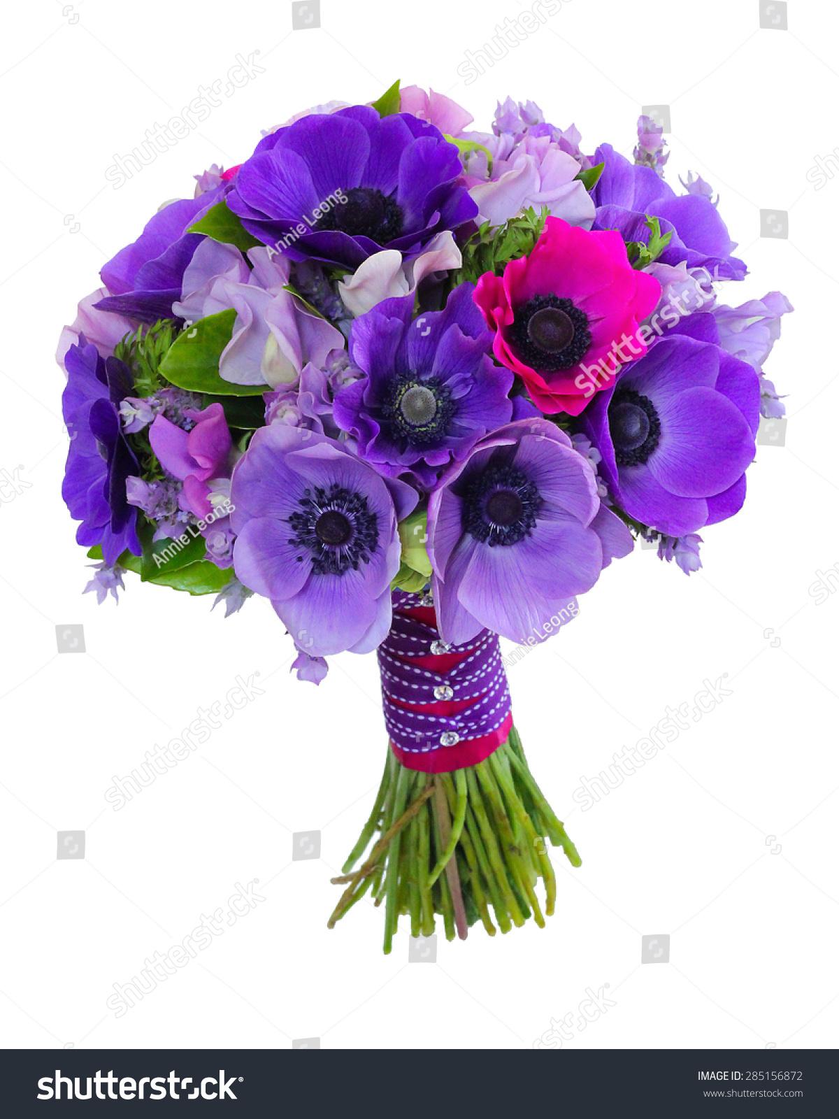Purple anemone sweet pea wedding bouquet stock photo edit now purple anemone and sweet pea wedding bouquet isolated on white background izmirmasajfo