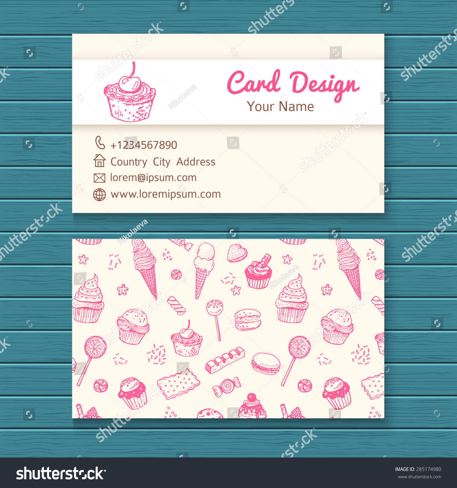 business card template hand drawn sweets stock vector
