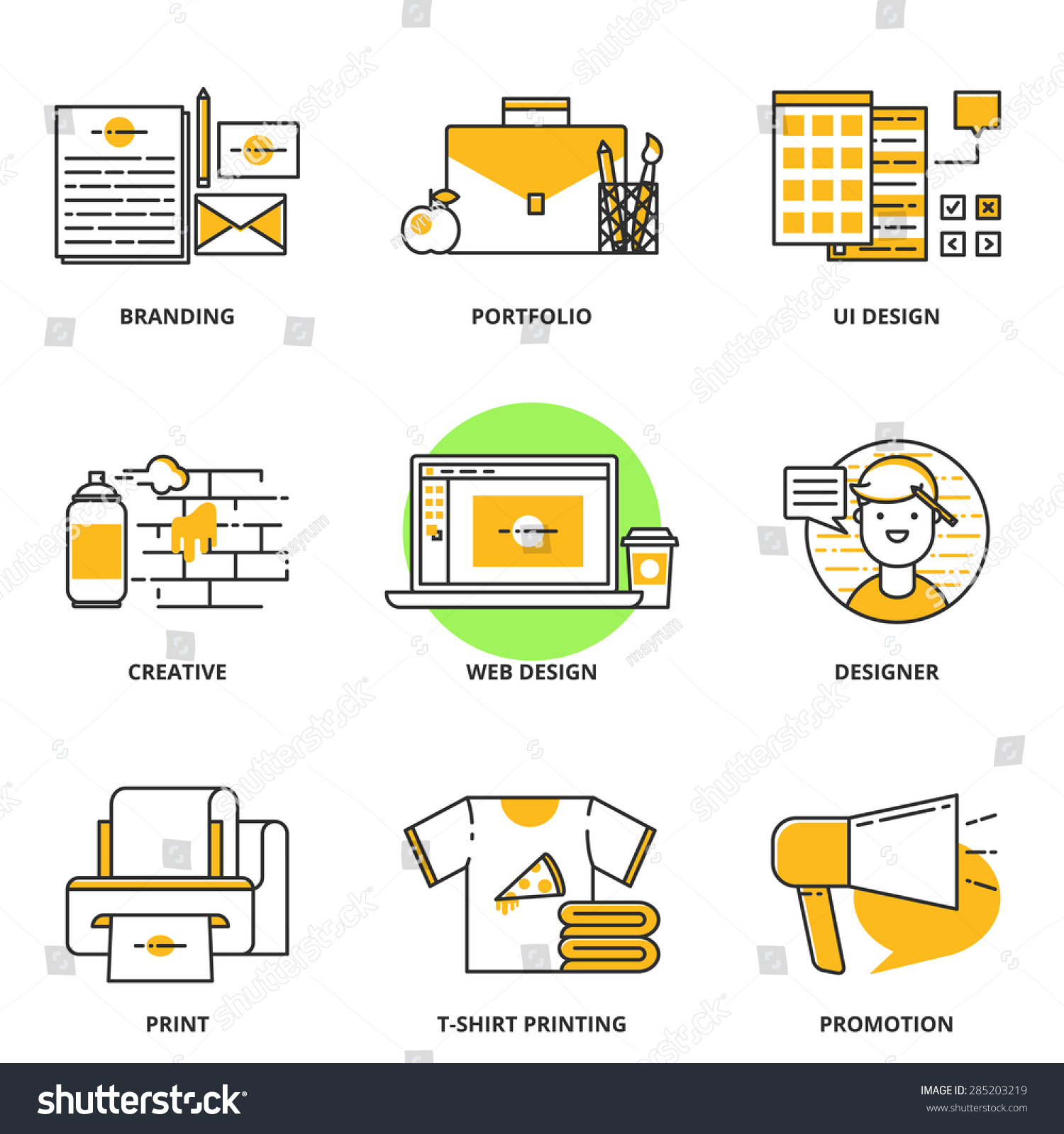 Branding corporate identity design vector icons stock for T shirt printing website