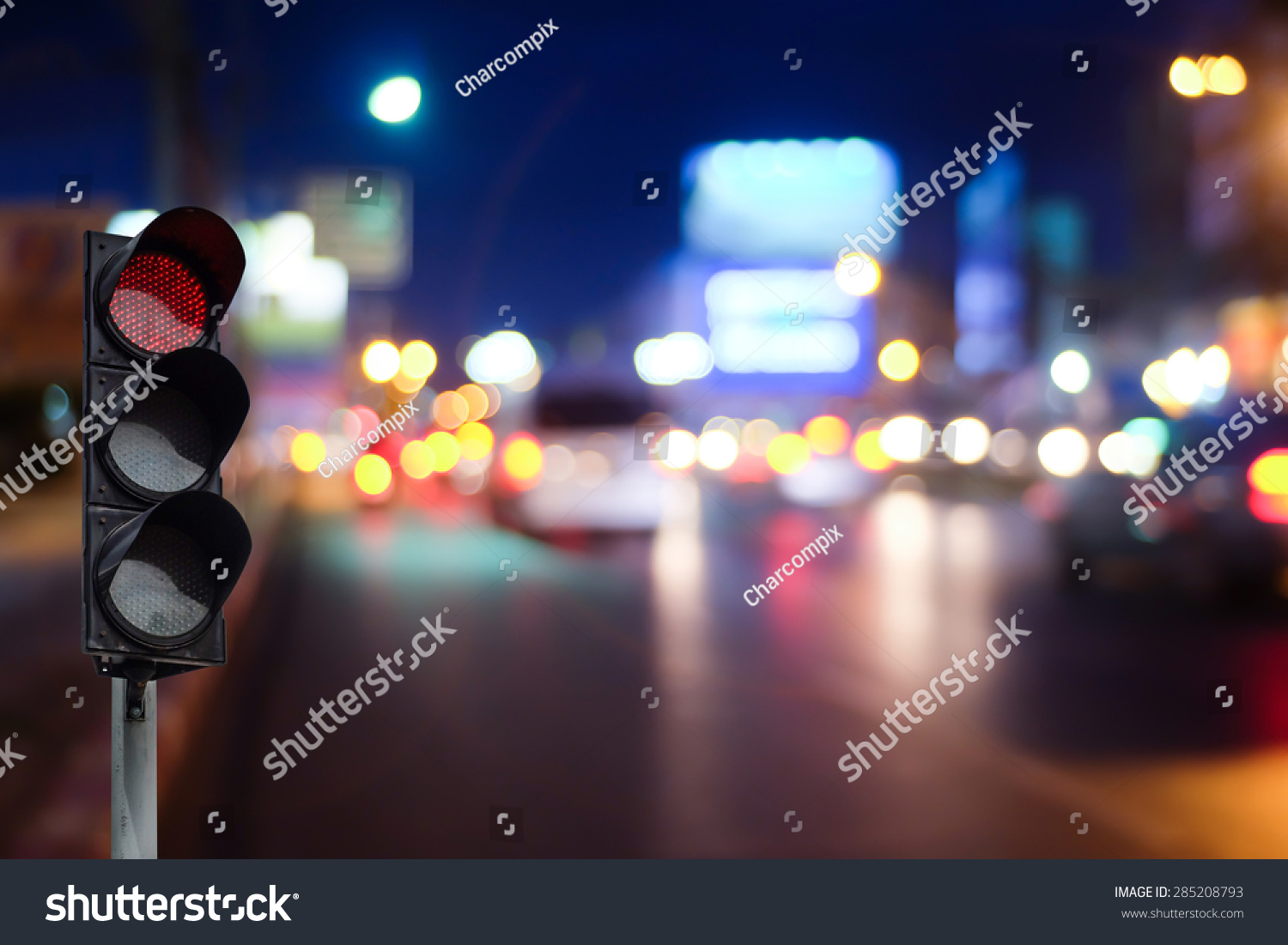 Red Traffic Light On Road Night Stock Photo 285208793 - Shutterstock for Traffic Light On Road At Night  21ane
