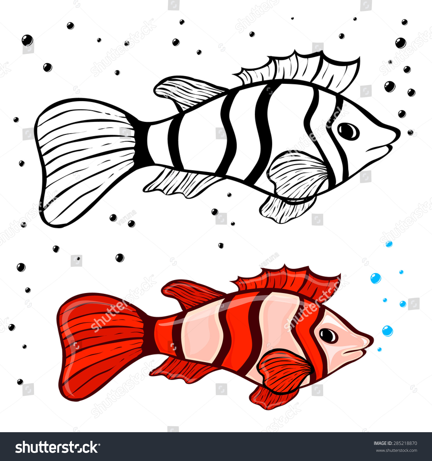 Fish Coloring Pages Kids Stock Vector HD (Royalty Free) 285218870 ...