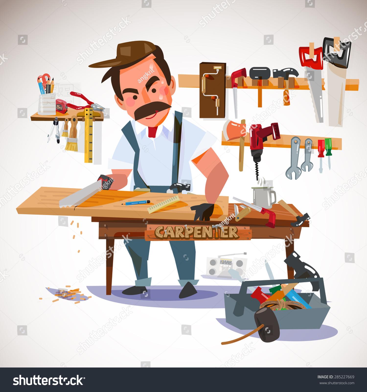 carpenter sawing wood board workshop set stock vector. Black Bedroom Furniture Sets. Home Design Ideas